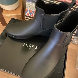 JCrew Chelsea black rain boots